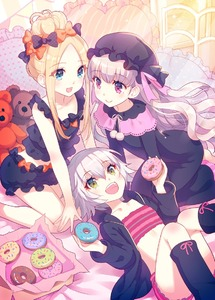 Rating: Safe Score: 3 Tags: 3girls :d abigail_williams_(fate/grand_order) bangs bare_arms bare_shoulders bed_sheet black_bow black_dress black_headwear black_jacket black_legwear black_shirt blonde_hair blue_eyes blush bow closed_mouth diagonal_stripes doughnut dress eyebrows_visible_through_hair fate/extra fate/grand_order fate_(series) food frilled_pillow frills green_eyes hair_between_eyes hair_bow hat holding holding_food hood hood_down hooded_jacket jack_the_ripper_(fate/apocrypha) jacket kneehighs long_hair long_sleeves mob_cap multiple_girls nishimura_eri nursery_rhyme_(fate/extra) open_clothes open_jacket open_mouth orange_bow parted_bangs pillow polka_dot polka_dot_bow red_eyes shirt short_shorts shorts sidelocks silver_hair sleeveless sleeveless_shirt smile striped striped_shorts stuffed_animal stuffed_toy teddy_bear very_long_hair User: DMSchmidt