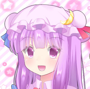 Rating: Safe Score: 0 Tags: 1girl blue_ribbon blush bright_background close-up crescent crescent_moon_pin double_bun eyebrows_visible_through_hair hat head looking_at_viewer open_mouth patchouli_knowledge purple_eyes purple_hair red_ribbon ribbon smile solo star striped striped_background touhou_project upper_body yukina_kurosaki User: DMSchmidt
