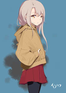 Rating: Safe Score: 1 Tags: 1girl absurdres bangs black_legwear blue_background brown_eyes brown_hair brown_hoodie character_name closed_mouth cowboy_shot eyebrows_visible_through_hair fate/kaleid_liner_prisma_illya fate_(series) hair_between_eyes highres hood hood_down hoodie illyasviel_von_einzbern long_hair looking_at_viewer looking_to_the_side pantyhose pear_sauce pleated_skirt red_skirt skirt solo very_long_hair User: DMSchmidt