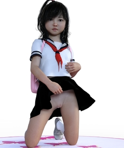 Rating: Questionable Score: 12 Tags: 3dcg backpack bag black_eyes black_hair black_skirt closed_mouth deepinside_(deepfake) full_body kneeling lifted_by_self long_hair looking_at_viewer nopan original photorealistic ponytail school_uniform serafuku simple_background skirt skirt_lift white_background white_legwear white_shirt User: Domestic_Importer