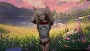 Rating: Safe Score: 1 Tags: 1girl 3dcg blonde_hair blue_eyes fishnets flat_chest flower lake lemli long_hair middle_finger nipples outdoors photorealistic pose shadow standing User: fantasy-lover