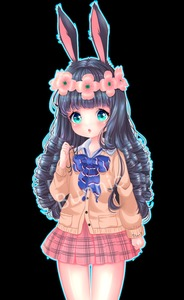 Rating: Safe Score: 1 Tags: 1girl absurdres animal_ears black_hair bow bowtie brown_cardigan bunny_ears cardigan clenched_hand curly_hair elin flower green_eyes hair_flower hair_ornament head_wreath highres holding holding_hair lips long_hair open_mouth plaid plaid_skirt red_skirt school_uniform shirt skirt solo symbol-shaped_pupils tera_online watermark white_shirt User: DMSchmidt
