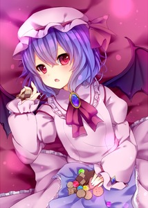 Rating: Safe Score: 0 Tags: 1girl amashiro_natsuki bat_wings bed_sheet biscuit blue_hair food hat holding looking_at_viewer lying mob_cap open_mouth red_eyes remilia_scarlet short_hair solo touhou_project wings User: DMSchmidt