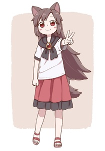 Rating: Safe Score: 1 Tags: 1girl animal_ears blush_stickers brown_hair clenched_hand full_body highres imaizumi_kagerou looking_at_viewer no_socks poronegi red_eyes red_skirt sandals sandals_barefoot shirt skirt smile solo standing tail touhou_project v white_shirt wolf_ears wolf_tail User: DMSchmidt