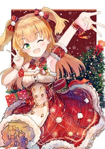 Rating: Safe Score: 0 Tags: 1girl ;d absurdres arm_up armpits axleaki bangs bare_shoulders blonde_hair blush bow bowtie bracelet breasts buttons character_name christmas christmas_tree cleavage cowboy_shot detached_collar detached_sleeves earrings eyebrows_visible_through_hair fang fur_trim gift gingerbread_man green_eyes hair_bow hand_up heart heart_earrings highres idolmaster idolmaster_cinderella_girls jewellery jougasaki_rika layered_skirt long_hair looking_at_viewer one_eye_closed open_mouth red_bow red_neckwear red_skirt ribbon ring shirt short_sleeves skirt small_breasts smile solo striped striped_bow two_side_up v w white_shirt wrist_ribbon User: DMSchmidt