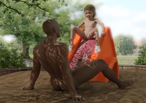 Rating: Explicit Score: 47 Tags: 1boy 1girl 3dcg age_difference barefoot brown_skin dark_skinned_male flat_chest highres imminent_penetration interracial looking_up navel nipples penis photorealistic playground pussy shadow slide smile socks sofom User: fantasy-lover