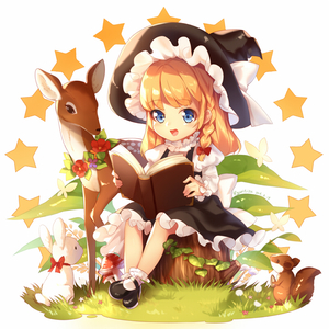 Rating: Safe Score: 0 Tags: 1girl 2016 :d animal artist_name black_footwear blonde_hair blue_eyes book bow braid bug bunny butterfly dated deer frills hat hat_bow insect kirisame_marisa kyuri_tizu long_hair looking_at_viewer mary_janes mushroom open_book open_mouth plant shoes side_braid single_braid sitting smile solo squirrel star touhou_project tree_stump witch_hat User: DMSchmidt