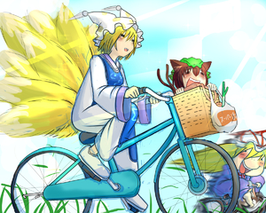 Rating: Safe Score: 0 Tags: 3girls =_= animal_ears apple bag basket bicycle blonde_hair blue_sky blush_stickers cat_ears cat_tail chen cloud dress fang food fox_tail fruit grass grocery_bag hat hat_ribbon hat_with_ears in_container long_hair mob_cap motion_blur multiple_girls multiple_tails okahi open_mouth ribbon shopping_bag short_hair sky solid_circle_eyes spring_onion tabard tail touhou_project yakumo_ran yakumo_yukari User: DMSchmidt