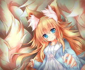 Rating: Safe Score: 1 Tags: 1girl absurdres animal_ear_fluff animal_ears bangs blonde_hair blue_eyes blue_jacket blush cotton_swab dress fox_ears fox_girl fox_tail hair_between_eyes highres jacket kyuubi lap_pillow_invitation large_tail long_hair looking_at_viewer macaroni710 multiple_tails original sidelocks smile solo tail very_long_hair white_dress User: DMSchmidt