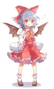 Rating: Safe Score: 1 Tags: 1girl 60mai ascot bat_wings blue_hair blush bow cosplay detached_sleeves fang frilled_skirt frills hair_bow hair_ornament hair_tubes hakurei_reimu hakurei_reimu_(cosplay) hand_on_hip japanese_clothes long_sleeves looking_at_viewer midriff miko red_eyes remilia_scarlet sarashi shirt shoes short_hair simple_background skirt skirt_set smile socks solo touhou_project vest white_background white_legwear wide_sleeves wings User: DMSchmidt