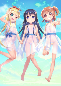 Rating: Safe Score: 5 Tags: 3girls :3 ;d ahoge armpits asymmetrical_hair bare_arms bare_legs bare_shoulders bikini bikini_under_clothes bikini_under_dress black_hair blonde_hair blue_eyes blush bow brown_hair closed_mouth collarbone dress eyebrows_visible_through_hair flower green_eyes grin hair_bow hair_flower hair_ornament hairband highres himesaka_noa holding_hands hoshino_hinata jumping legs long_hair looking_at_viewer micro_bikini momoto0193 multiple_girls one_eye_closed one_side_up open_mouth orange_hair ponytail red_eyes see-through shiny shiny_hair shirosaki_hana side_ponytail smile swimsuit tied_hair v v-shaped_eyebrows w watashi_ni_tenshi_ga_maiorita! white_dress User: Domestic_Importer
