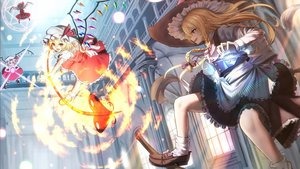 Rating: Safe Score: 0 Tags: 4girls apron architecture arms_up bangs battle black_hat black_skirt black_vest blonde_hair blurry bobby_socks bow braid broom broom_riding broom_surfing brown_bow brown_eyes brown_footwear brown_hat buttons crystal danmaku depth_of_field eyebrows_visible_through_hair fire flandre_scarlet flying four_of_a_kind_(touhou) frilled_skirt frills hair_between_eyes hair_bow hat hat_bow hat_ribbon highres holding indoors kirisame_marisa laevatein loafers long_hair long_sleeves looking_at_another magic_circle mini-hakkero miniskirt mob_cap multiple_girls open_mouth orange_eyes outstretched_arm pentagram pillar puffy_short_sleeves puffy_sleeves purple_bow red_eyes red_hair red_ribbon red_skirt red_vest ribbon shirt shoe_bow shoes short_hair short_sleeves side_braid skirt skirt_set smile socks standing_on_broom teeth teraguchi touhou_project vest waist_apron white_bow white_hat white_legwear white_shirt window wings witch_hat User: DMSchmidt