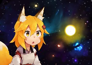 Rating: Safe Score: 0 Tags: 1girl :o animal_ears blonde_hair breasts eyes_visible_through_hair fox_ears fox_tail hair_between_eyes hair_ornament japanese japanese_clothes medium_breasts original rimukoro senko_(sewayaki_kitsune_no_senko-san) sewayaki_kitsune_no_senko-san solo space star starry_background tail upper_body yellow_eyes User: Domestic_Importer