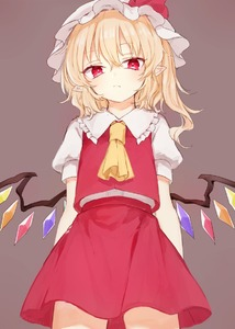 Rating: Safe Score: 0 Tags: 1girl ascot blonde_hair brown_background cowboy_shot crystal eyebrows_visible_through_hair flandre_scarlet frilled_shirt_collar frills from_below hair_between_eyes hat hat_ribbon honotai looking_at_viewer mob_cap one_side_up pointy_ears puffy_short_sleeves puffy_sleeves red_eyes red_ribbon red_skirt red_vest ribbon shirt short_hair short_sleeves simple_background skirt solo standing touhou_project vest white_hat white_shirt wings yellow_neckwear User: DMSchmidt