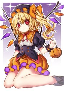Rating: Safe Score: 0 Tags: 1girl :3 alternate_colour bangs blonde_hair blush border breasts bubble_skirt cleavage closed_mouth crystal curly_hair dot_nose double-breasted eyebrows_visible_through_hair eyelashes feet_out_of_frame flandre_scarlet frilled_hat frilled_shirt_collar frills from_side hair_between_eyes halloween hat holding kyouda_suzuka looking_at_viewer looking_to_the_side mob_cap neck_ribbon orange_skirt outside_border puffy_short_sleeves puffy_sleeves purple_background raised_eyebrows red_eyes red_neckwear ribbon short_hair short_sleeves side_ponytail simple_background sitting skirt small_breasts smile solo sparkle touhou_project underbust wariza white_border wings wrist_cuffs User: DMSchmidt