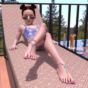 Rating: Questionable Score: 25 Tags: 1girl 3dcg anya brown_hair crossed_legs flat_chest green_eyes libertine_simulacra looking_at_viewer lying nail_polish outdoors phone photorealistic pose ring shadow smile sunglasses sunscreen twin_hair_buns User: fantasy-lover