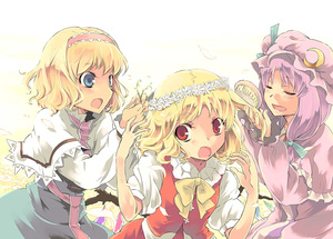 Rating: Safe Score: 0 Tags: 3girls alice_margatroid blonde_hair blue_eyes closed_eyes crescent dress flandre_scarlet hair_brush hair_brushing hairband hat multiple_girls patchouli_knowledge purple_hair red_eyes touhou_project wings yuu_(kfc) User: DMSchmidt