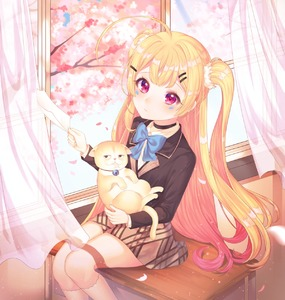 Rating: Safe Score: 1 Tags: 1girl absurdres ahoge animal azur_lane bangs bell black_blazer black_choker blazer blonde_hair blue_bow blush bow brown_skirt cat choker closed_mouth collared_shirt curtains day desk eldridge_(azur_lane) eyebrows_visible_through_hair facial_mark flower gradient_hair hair_ornament hairclip highres holding holding_animal holding_cat holding_paper indoors jacket jingle_bell kneehighs long_hair long_sleeves looking_at_viewer multicoloured_hair on_desk open_window paper petals pink_flower purple_eyes purple_hair reel37891 school_desk school_uniform shirt sitting sitting_on_desk skirt solo sunlight torn_paper two_side_up very_long_hair white_legwear white_shirt User: DMSchmidt