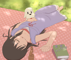 Rating: Safe Score: 1 Tags: 1girl bare_shoulders barefoot black_hair blanket book buddha carving closed_eyes collarbone dog dress eyewear_removed flower glasses grass long_hair lying minakami_mai nichijou on_back outdoors parted_lips sleeping statue tomboo User: DMSchmidt