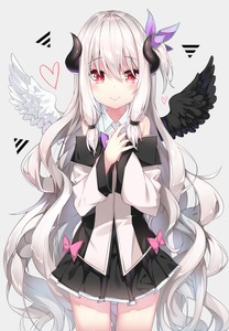 Rating: Safe Score: 2 Tags: 1girl :> absurdres black_skirt black_wings blush bow demon_horns eyebrows_visible_through_hair flat_chest hair_ornament heart highres horns jacket lira long_hair long_sleeves looking_at_viewer mini_wings miniskirt mismatched_wings original pink_bow red_eyes shirt side_ponytail skirt solo two-tone_jacket very_long_hair white_hair white_shirt white_wings wings User: DMSchmidt