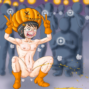 Rating: Explicit Score: 2 Tags: 1girl armpits boots bottomless clitoral_hood clitoris crowd erect_clitoris exhibitionism flat_chest glasses halloween hat highres laughing nanasi0507 nipples pee peeing public public_nudity pumpkin pussy snot solofocus tears topless User: DMSchmidt