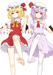 Rating: Safe Score: 2 Tags: 2girls ascot bangs bare_legs barefoot bat_wings blonde_hair bow bowtie brooch crystal dress eyebrows_visible_through_hair feet_out_of_frame flan_(seeyouflan) flandre_scarlet frilled_shirt_collar frills hand_on_hip hand_on_own_chest hand_up hat hat_ribbon highres jewellery ke-ta_(style) lavender_hair leg_up looking_at_viewer miniskirt mob_cap multiple_girls no_shoes orange_bow orange_neckwear pantyhose purple_dress red_eyes red_neckwear red_ribbon red_skirt red_vest remilia_scarlet ribbon short_hair siblings simple_background sisters skirt skirt_set soles standing standing_on_one_leg thighs touhou_project vest white_background white_hat white_legwear wings User: DMSchmidt
