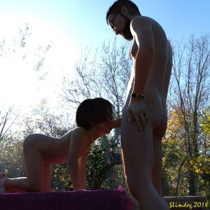 Rating: Explicit Score: 61 Tags: 1boy 1girl 3dcg brown_hair father_and_daughter fellatio highres nude oral outdoors penis photorealistic short_hair slimdog User: lalilu1234