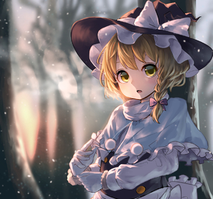 Rating: Safe Score: 3 Tags: 1girl apron blonde_hair blurry bow braid breath capelet depth_of_field forest gloves hair_bow hair_ornament hat hat_ribbon kirisame_marisa long_sleeves looking_at_viewer nature open_mouth pyonsuke ribbon shirt short_hair side_braid single_braid solo touhou_project tree turtleneck upper_body vest waist_apron white_gloves witch_hat yellow_eyes User: DMSchmidt