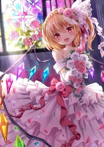Rating: Safe Score: 2 Tags: 1girl :d bangs bare_shoulders blonde_hair blush bouquet bow braid cowboy_shot crown_braid crystal dress earrings elbow_gloves eyebrows_visible_through_hair fang flandre_scarlet flower gloves hair_between_eyes hair_flower hair_ornament head_tilt holding holding_bouquet indoors jewellery kure~pu light_rays looking_at_viewer necklace off-shoulder_dress off_shoulder one_side_up open_mouth pearl_necklace petals pink_flower pink_rose red_bow red_eyes rose short_hair smile solo stained_glass stud_earrings touhou_project veil wedding_dress white_flower white_gloves white_rose wings User: DMSchmidt