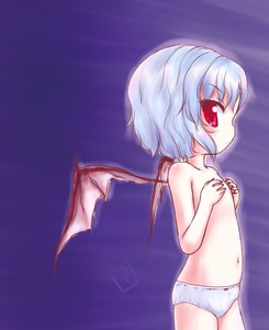 Rating: Questionable Score: 0 Tags: 1girl bat_wings blue_hair covering covering_breasts flat_chest navel pantsu red_eyes remilia_scarlet short_hair solo team_shanghai_alice topless touhou_project uho_(uhoyoshi-o) underwear underwear_only white_pantsu wings User: Domestic_Importer