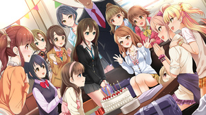 Rating: Safe Score: 2 Tags: 1boy 6+girls :d birthday birthday_cake birthday_party blazer blush bow bowtie cake candle collarbone eyebrows_visible_through_hair food formal futaba_anzu hair_bobbles hair_ornament hair_ribbon hands_on_another's_shoulders hayami_kanade head_out_of_frame headphones headphones_around_neck highres honda_mio houjou_karen idolmaster idolmaster_cinderella_girls jacket jewellery jougasaki_mika jougasaki_rika kamiya_nao kazu kohinata_miho loose_bowtie loose_necktie multiple_girls necklace necktie ogata_chieri open_mouth party plaid plaid_skirt plate pleated_skirt ponytail producer_(idolmaster) ribbon sakuma_mayu school_uniform scrunchie shibuya_rin shimamura_uzuki sitting skirt smile suit sweater_vest table tada_riina twin_tails two_side_up wrist_scrunchie User: Domestic_Importer