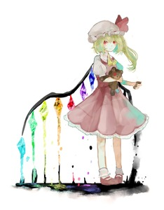 Rating: Safe Score: 1 Tags: 1girl ascot bangs blonde_hair bow closed_mouth crystal flandre_scarlet frills full_body hat hat_bow hat_ribbon highres holding looking_at_viewer medium_hair mob_cap puffy_sleeves red_eyes red_skirt ribbon sano_naoi shirt shoes short_hair short_sleeves side_ponytail simple_background skirt skirt_set solo standing stuffed_animal stuffed_toy teddy_bear touhou_project toy white_background white_shirt wings yellow_neckwear User: DMSchmidt