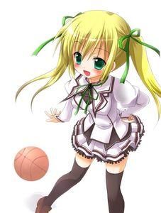 Rating: Safe Score: 0 Tags: 1girl basketball blonde_hair crossover green_eyes long_hair mashi mashiroiro_symphony misawa_maho open_mouth rou-kyuu-bu! school_uniform solo thighhighs twin_tails zinan User: DMSchmidt