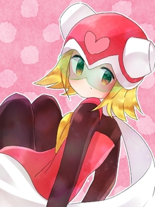 Rating: Safe Score: 0 Tags: 1girl arm_support bangs blonde_hair blush bodysuit capcom harp_note heart helmet hibiki_misora looking_at_viewer looking_back pattern patterned_background rockman ryuusei_no_rockman scarf short_hair sitting solo User: Domestic_Importer