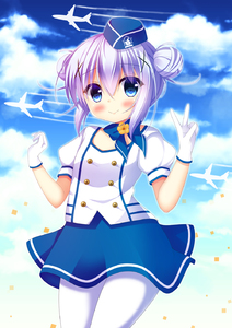 Rating: Safe Score: 0 Tags: 1girl aircraft airplane bangs blue_bow blue_eyes blue_hair blue_hat blue_skirt blue_sky blush bow breasts closed_mouth cloud cloudy_sky collarbone cowboy_shot day double_bun eyebrows_visible_through_hair flight_attendant gloves gochuumon_wa_usagi_desu_ka? hair_between_eyes hair_ornament hands_up hat highres kafuu_chino mini_hat outdoors pantyhose puffy_short_sleeves puffy_sleeves shirt short_sleeves side_bun sidelocks skirt sky small_breasts smile solo uniform v white_gloves white_legwear white_shirt x_hair_ornament yukatama User: DMSchmidt