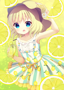 Rating: Safe Score: 0 Tags: 10s 1girl :o arm_up bangs bare_shoulders blonde_hair blue_eyes collarbone cowboy_shot cup dress drinking_glass drinking_straw eyebrows_visible_through_hair flat_chest flower food frilled_dress frills fruit fruit_background gochuumon_wa_usagi_desu_ka? hand_on_headwear hat hat_flower holding holding_glass kirima_sharo lemon lemon_print lemonade looking_at_viewer open_mouth print_dress short_hair sleeveless sleeveless_dress solo standing striped striped_dress suzu_(kosakabe) User: Domestic_Importer