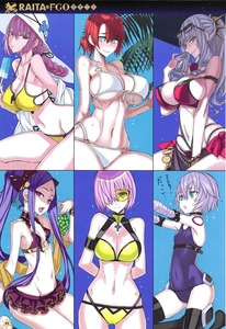 Rating: Safe Score: 1 Tags: 6+girls absurdres arms_behind_back ass_visible_through_thighs bare_shoulders boudica_(fate/grand_order) breasts carmilla_(fate/grand_order) cleavage collarbone covered_navel cowtits cropped eyewear_on_head fate/grand_order fate_(series) florence_nightingale_(fate/grand_order) food fruit hat highres holding honjou_raita huge_filesize ice_pop jack_the_ripper_(fate/apocrypha) large_breasts looking_at_viewer mash_kyrielight multiple_girls one-piece_swimsuit open_mouth page_number scan scar simple_background small_breasts sunglasses swimsuit wu_zetian_(fate/grand_order) User: DMSchmidt