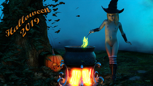 Rating: Questionable Score: 15 Tags: 1girl 3dcg boots cauldron draxlasto flat_chest halloween hat navel nipples photorealistic pumpkin pussy smile standing striped_legwear thighhighs tree witch witch_hat User: fantasy-lover
