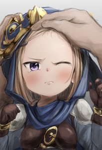 Rating: Safe Score: 4 Tags: 1girl >:( black_gloves blush forehead frown gloves granblue_fantasy hood light_brown_hair milleore one_eye_closed solo_focus tears zakki_(1039) User: DMSchmidt