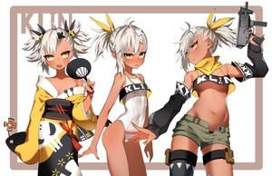Rating: Safe Score: 4 Tags: 1girl ahoge alternate_hairstyle arm_up bare_arms bare_shoulders black_legwear blush breasts brown_skin character_name clothes_writing collarbone detached_sleeves eyebrows_visible_through_hair fan fang_out girls_frontline gun hair_ornament hair_ribbon head_tilt highres holding holding_fan holding_weapon japanese_clothes kimono klin_(girls_frontline) long_sleeves looking_at_viewer multiple_views navel obi off_shoulder one-piece_swimsuit open_fly pokan_(xz1128) pouch ribbon sash short_hair short_shorts shorts single_thighhigh skull skull_hair_ornament skull_print sleeves_past_fingers sleeves_past_wrists small_breasts standing stomach swimsuit tassel thigh_strap thighhighs turtleneck two_side_up weapon weapon_request white_hair white_swimsuit wide_sleeves yellow_eyes yellow_kimono yellow_ribbon yukata User: DMSchmidt