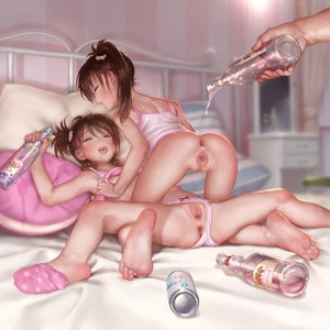 Rating: Explicit Score: 3 Tags: 1boy 2girls alcohol asakuraf ass barefoot bed bed_frame bottle bow bow_panties brown_hair closed_eyes dildo feet flat_chest futami_ami futami_mami girl_on_top hair_scrunchie holding idolmaster idolmaster_(classic) indoors multiple_girls nipples on_bed open_mouth pantsu pillow profile pussy scrunchie sex_toy shirt shirt_lift siblings sisters sleeveless sleeveless_shirt soles spread_legs spread_pussy straddling third-party_edit toes tongue twins uncensored underage_drinking underwear User: Domestic_Importer