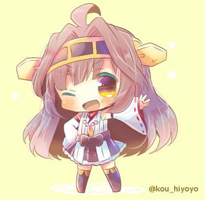 Rating: Safe Score: 0 Tags: 10s 1girl ahoge bare_shoulders boots brown_eyes brown_hair chibi detached_sleeves double_bun full_body hairband headgear japanese_clothes kantai_collection kongou_(kantai_collection) kouu_hiyoyo long_hair looking_at_viewer lowres nontraditional_miko one_eye_closed open_mouth ribbon-trimmed_sleeves ribbon_trim smile solo thigh_boots thighhighs twitter_username yellow_background User: Domestic_Importer