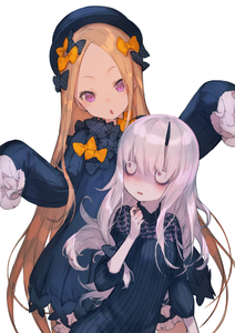 Rating: Safe Score: 1 Tags: 2girls abigail_williams_(fate/grand_order) bags_under_eyes bangs black_bow black_dress black_hat blonde_hair bloomers blue_eyes blush bow bug bukurote butterfly dress fate/grand_order fate_(series) forehead hair_bow hands_up hat head_tilt horn insect lavinia_whateley_(fate/grand_order) long_hair long_sleeves looking_at_viewer multiple_girls orange_bow parted_bangs parted_lips polka_dot polka_dot_bow purple_eyes silver_hair sleeves_past_fingers sleeves_past_wrists underwear very_long_hair white_bloomers wide-eyed User: DMSchmidt