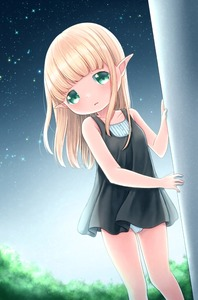 Rating: Safe Score: 4 Tags: 1girl ass_visible_through_thighs bare_arms bare_shoulders blonde_hair cameltoe collarbone dress elf highres long_hair looking_at_viewer original panchira pantsu pantyshot_(standing) pointy_ears sky solo standing stars underwear white_pantsu xenon_(simlacurm) User: Domestic_Importer