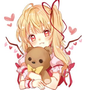 Rating: Safe Score: 2 Tags: 1girl blonde_hair bow closed_mouth eyelashes fang flandre_scarlet heart hug looking_at_viewer paragasu_(parags112) puffy_short_sleeves puffy_sleeves red_eyes red_ribbon red_vest ribbon shirt short_sleeves side_ponytail solo stuffed_animal stuffed_toy teddy_bear touhou_project upper_body vest white_background white_shirt wings wrist_cuffs yellow_bow User: DMSchmidt