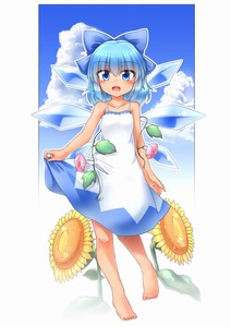 Rating: Safe Score: 1 Tags: 1girl bangs barefoot blue_eyes blue_hair blush bow cirno cloud day dress eyebrows eyebrows_visible_through_hair flower hair_between_eyes hair_bow hidden_star_in_four_seasons highres ice ice_wings leaf looking_at_viewer m9kndi open_mouth plant short_hair sky solo sundress sunflower tan tanned_cirno touhou_project vines white_dress wings User: DMSchmidt
