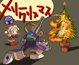 Rating: Safe Score: 0 Tags: 1boy 1girl android blonde_hair blue_eyes bullying cannon capcom christmas christmas_tree hat kin_niku long_hair ponytail rockman rockman_(classic) roll santa_costume santa_hat vava User: DMSchmidt