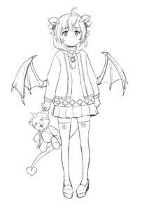Rating: Safe Score: 1 Tags: 1girl ahoge bangs blunt_bangs braid closed_mouth demon_girl demon_horns demon_tail demon_wings eyebrows_visible_through_hair full_body greyscale holding holding_stuffed_animal horns jacket lilim_(monster_girl_encyclopedia) lineart long_hair looking_at_viewer maritan_(pixelmaritan) monochrome monster_girl monster_girl_encyclopedia pleated_skirt pointy_ears pose ribbon runa shirt shoes simple_background skirt solo standing stuffed_animal stuffed_toy succubus tail thighhighs twin_braids white_background wings zettai_ryouiki User: DMSchmidt