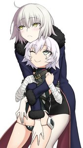 Rating: Safe Score: 0 Tags: 10s 2girls arm_strap bandaged_arm bandages bangs belt black_dress blue_coat blush chin_on_head chin_rest cowboy_shot dress eyebrows_visible_through_hair facial_scar fate/apocrypha fate/grand_order fate_(series) fur_trim green_eyes hair_between_eyes hand_on_another's_hip hand_on_another's_thigh hands_on_another's_arms highres hug hug_from_behind jack_the_ripper_(fate/apocrypha) jeanne_d'arc_(alter)_(fate) jeanne_d'arc_(fate) jeanne_d'arc_(fate)_(all) long_sleeves looking_at_another looking_away looking_to_the_side looking_up multiple_girls navel one_eye_closed pale_skin pantsu scar scar_across_eye scar_on_cheek short_hair silver_hair simple_background sleeveless sleeveless_turtleneck smile susukune thigh_gap tsurime turtleneck underwear white_background yellow_eyes User: Domestic_Importer