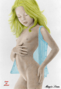 Rating: Explicit Score: 9 Tags: 1girl arched_back blonde_hair camisole closed_eyes flat_chest hand_on_own_ass long_hair nipples nude richard_harris scan solo standing User: Software